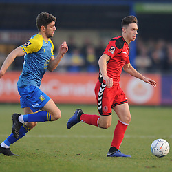 TELFORD COPYRIGHT MIKE SHERIDAN 23/2/2019 - JRyan Barnett of AFC Telford (on loan from Shrewsbury Town Football Club) and George Carline during the FA Trophy quarter final fixture between Solihull Moors and AFC Telford United at the Automated Technology Group Stadium