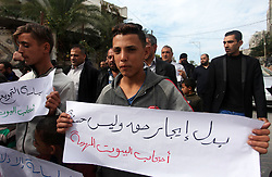 November 11, 2018 - Beit Hanoun, Gaza Strip, Palestinian Territory - Palestinian owners of houses which were destroyed during the recent Israeli war, take part in a protest, in front of UNRWA headquarters, in Beit Hanoun in the northern Gaza Strip, on November 11, 2018  (Credit Image: © Mahmoud Ajjour/APA Images via ZUMA Wire)