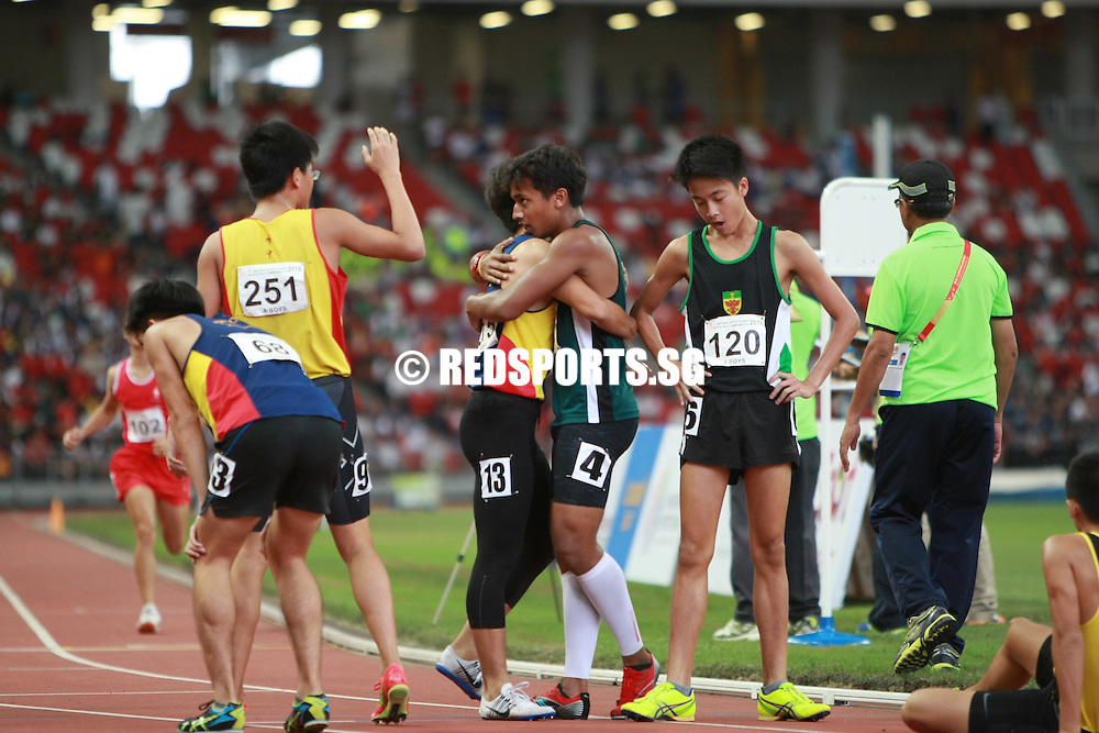 Singapore National Stadium, Friday, April 29, 2016 — Mohammad Shafiq Anshad of Raffles Institution took home the A Division 1500m gold in 4 minutes 21.76 seconds at the 57th National Schools Track and Field Championships.
