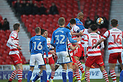 GOAL Calvin Andrew heads the opening goal 0-1 during the The FA Cup 3rd round match between Doncaster Rovers and Rochdale at the Keepmoat Stadium, Doncaster, England on 6 January 2018. Photo by Daniel Youngs.
