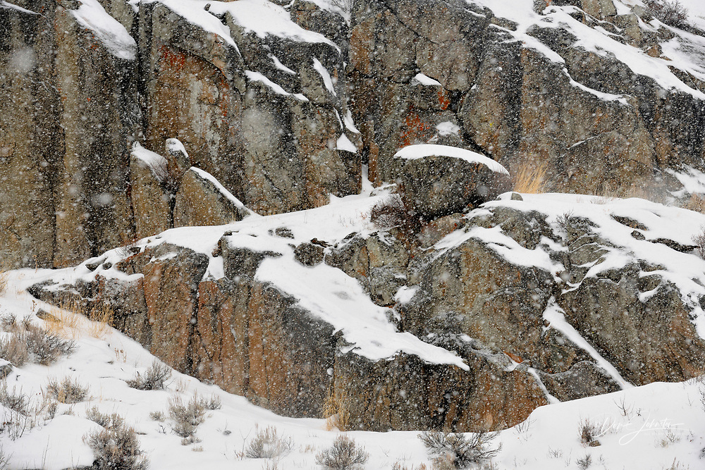 Falling snow and rock outcrops in the Lamar Valley, Yellowstone NP, Wyoming, USA