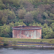 Finnart Oil Terminal, built in WW2 the remains of camouflage paint is still visible, Argyll & Bute, Scotland.