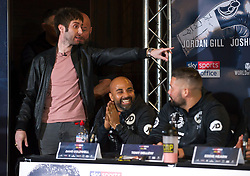 May 3, 2018 - London, London, United Kingdom - Bellew vs David Haye press conference. ..Actor James Buckley from The Inbetweeners, gatecrashed the final press conference ahead ofDavid Haye's rematch withTony Bellew....Tony Bellew vs David Haye press conference at Park Plaza hotel. (Credit Image: © Gustavo Valiente/i-Images via ZUMA Press)