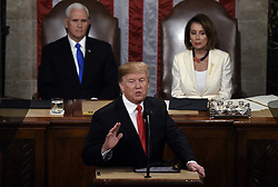 U.S. President Donald Trump delivers his State of the Union address to a joint session of the U.S. Congress on Capitol Hill February 5, 2019 in Washington, DC. DC.Photo by Olivier Douliery/ABACAPRESS.COM
