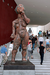 View of sculpture inside German Chancellor`s building the Bundeskanzleramt during Open Doors Day in Berlin Germany