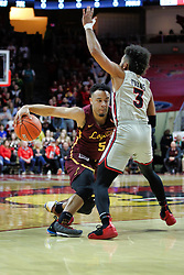 NORMAL, IL - February 02: Marques Townes presses past the 3 point line defended by Keyshawn Evans during a college basketball game between the ISU Redbirds and the University of Loyola Chicago Ramblers on February 02 2019 at Redbird Arena in Normal, IL. (Photo by Alan Look)