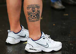 A Coventry City fan's tattoo as he arrives at the ground