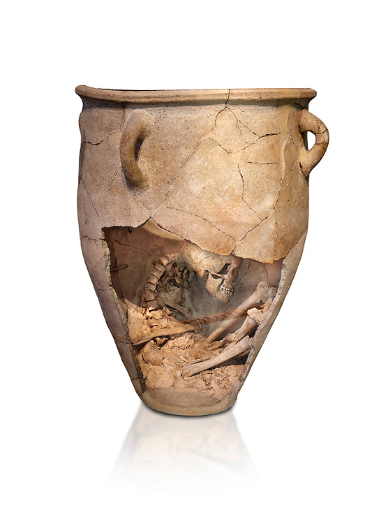 The Minoan clay burial pithos with skeleton in foetal,  Neopalatial period 1700-1450 BC; Heraklion Archaeological  Museum, white background.<br /> <br /> The body was placed in a foetal postion to aid insertion into the wide mouthed pithos .<br /> <br /> If you prefer to buy from our ALAMY PHOTO LIBRARY  Collection visit : https://www.alamy.com/portfolio/paul-williams-funkystock/minoan-art-artefacts.html . Type -   Heraklion   - into the LOWER SEARCH WITHIN GALLERY box. Refine search by adding background colour, place, museum etc<br /> <br /> Visit our MINOAN ART PHOTO COLLECTIONS for more photos to download  as wall art prints https://funkystock.photoshelter.com/gallery-collection/Ancient-Minoans-Art-Artefacts-Antiquities-Historic-Places-Pictures-Images-of/C0000ricT2SU_M9w