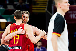 Brothers Marc Gasol of Spain and Pau Gasol of Spain celebrate during basketball match between National Teams of Germany and Spain at Day 13 in Round of 16 of the FIBA EuroBasket 2017 at Sinan Erdem Dome in Istanbul, Turkey on September 12, 2017. Photo by Vid Ponikvar / Sportida