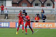 Vadaine Oliver of York city  (L) celebrates after he scores his teams 3rd goal. Skybet football league two match, Newport county v York city at Rodney Parade in Newport, South Wales on Saturday 5th Sept 2015.  pic by Andrew Orchard, Andrew Orchard sports photography.