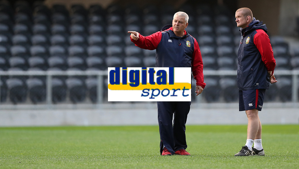 Rugby Union - 2017 British & Irish Lions Tour of New Zealand - Captains Run - <br /> <br /> Warren Gatland Head Coach of The British and Irish Lions chats to Graham Rowntree during the Captains run at Forsyth Barr Stadium, Dunedin.<br /> <br /> COLORSPORT/LYNNE CAMERON