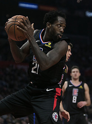 March 8, 2019 - Los Angeles, California, United States of America - Patrick Beverley #21 of the Los Angeles Clippers with a rebound during their NBA game with the Oklahoma Thunder on Friday March 8, 2019 at the Staples Center in Los Angeles, California. Clippers defeat Thunder, 118-110.  JAVIER ROJAS/PI (Credit Image: © Prensa Internacional via ZUMA Wire)