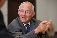 16 NOV 2016, BERLIN/GERMANY:<br /> Wolfgang Schaeuble, CDU, Federal Minister of Finance, during an Interview, in his office, Federal Ministy of Finance<br /> Wolfgang Schaeuble, CDU, CDU, Bundesfinanzminister, waehrend einem Interview, in seinem Buero, Bundesministerium der Finanzen<br /> IMAGE: 20161116-02-020<br /> KEYWORDS: Wolfgang Schäuble, Büro