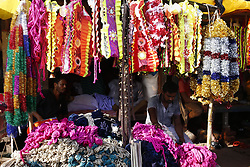 August 27, 2017 - Dhaka, Bangladesh - Bangladeshi vendor waits for customers to sell color les ribbons for animals at a cattle market, on the outcast of Dhaka. (Credit Image: © Md. Mehedi Hasan via ZUMA Wire)