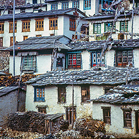 Traditional Sherpa houses crowd a hillside in Namche Bazar, leading town of the Sherpas in the Khumbu region of Nepal's Himalaya. Photo from 1979. These house have all been replaced by more modern ones.