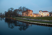 Night falls on Oranienburg, the capital of the Oberhavel area of Brandenburg, Germany. .