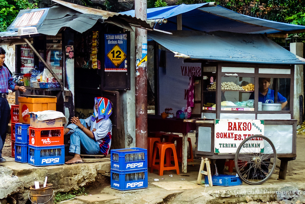 Java, Jakarta. Street life in Jakarta, a warung where you can buy local and cheap food.