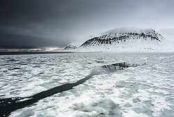 Fjord ice in Isfjorden, Svalbard, Norway