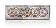 Pictures of a geometric Roman doorstep mosaics depicting five fishes surrounded by bars and a medallion, from the ancient Roman city of Thysdrus. 3rd century AD The Small Baths in the M'barek Rhaiem area. El Djem Archaeological Museum, El Djem, Tunisia. Against a white background<br /> <br /> The mosaic depicts the emblem of the Pentasii, a powerful Nortyh African Roman association that organised and  maintained the wild animals and hired animal killers to carry on the games in ampitheatres. .<br /> <br /> If you prefer to buy from our ALAMY PHOTO LIBRARY Collection visit : https://www.alamy.com/portfolio/paul-williams-funkystock/roman-mosaic.html . Type - El Djem - into the LOWER SEARCH WITHIN GALLERY box. Refine search by adding background colour, place, museum etc<br /> <br /> Visit our ROMAN MOSAIC PHOTO COLLECTIONS for more photos to download as wall art prints https://funkystock.photoshelter.com/gallery-collection/Roman-Mosaics-Art-Pictures-Images/C0000LcfNel7FpLI