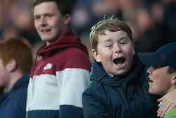 South stand fans t the end. Falkirk's Will Vaulks celebrates after scoring their goal. Falkirk 1 v 0 Kilmarnock, Ladbrokes Premiership Play-Off First Leg, played 19/5/2016 at The Falkirk Stadium.