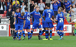 Rochdale's Calvin Andrew celebrates scoring his sides fourth goal- photo mandatory by-line David Purday JMP- Tel: Mobile 07966 386802 - 06/09/14 - Crawley Town v Rochdale - SPORT - FOOTBALL - Sky Bet Leauge 1 - London - Checkatrade.com Stadium