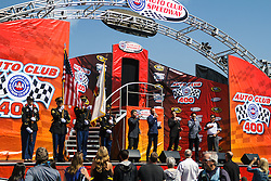 Fontana, CA/USA (Sunday, March 24, 2013) -  Verve Music recording artist  'The Tenors' (Remigio Pereira, Clifton Murray, Victor Micallef and Fraser Walters), perform the National Anthem prior to the start of the Auto Club 400 Sprint Cup Series race at Auto Club Speedway. PHOTO © Eduardo E. Silva/SILVEX.PHOTOSHELTER.COM.