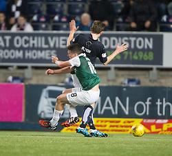 Hibernian's John McGinn runs into Falkirk's Blair Alston and gets awarded a penalty. Falkirk 0 v 1 Hibernian, Scottish Championship game played 20/10/2015 at The Falkirk Stadium.