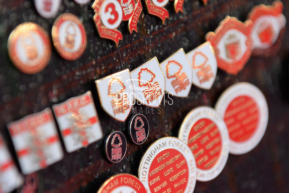 Forest pin badges at street venders store during the EFL Sky Bet Championship match between Nottingham Forest and Aston Villa at the City Ground, Nottingham, England on 4 February 2017. Photo by Jon Hobley.