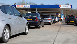 © Licensed to London News Pictures. 28/03/2012. London, U.K. Queues and lack of petrol at petrol stations around the greater London Area due to the threat of fuel tanker drivers industrial action. Photo credit : Rich Bowen/LNP