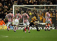 Photo: Rich Eaton.<br /> <br /> Wolverhampton Wanderers v Sunderland. Coca Cola Championship. 24/11/2006. Jemal Johnson of Wolves on right of pic celebrates his first half goal to the dismay of the Sunderland players
