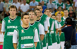 Matjaz Smodis, Jaka Lakovic during friendly match before Eurobasket Lithuania 2011 between National teams of Slovenia and Lithuania, on August 24, 2011, in Arena Stozice, Ljubljana, Slovenia. (Photo by Vid Ponikvar / Sportida)