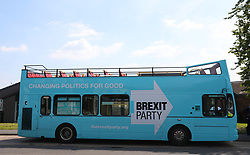 The Brexit Party bus outside Featherstone Working Man's Club, while on the European Election in Pontefract, West Yorkshire. Picture dated: Monday May 13, 2019. Photo credit should read: Isabel Infantes / EMPICS Entertainment.