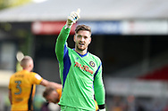 Newport county goalkeeper Joe Day celebrates at the end of the game, having kept a clean sheet and keepng score 0-0.   EFL Skybet football league two match, Newport county v Wycombe Wanderers at Rodney Parade in Newport, South Wales on Saturday 9th September 2017.<br /> pic by Andrew Orchard, Andrew Orchard sports photography.