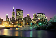 Image of Buckingham Fountain and the skyline of Chicago, Illinois, American Midwest by Randy Wells