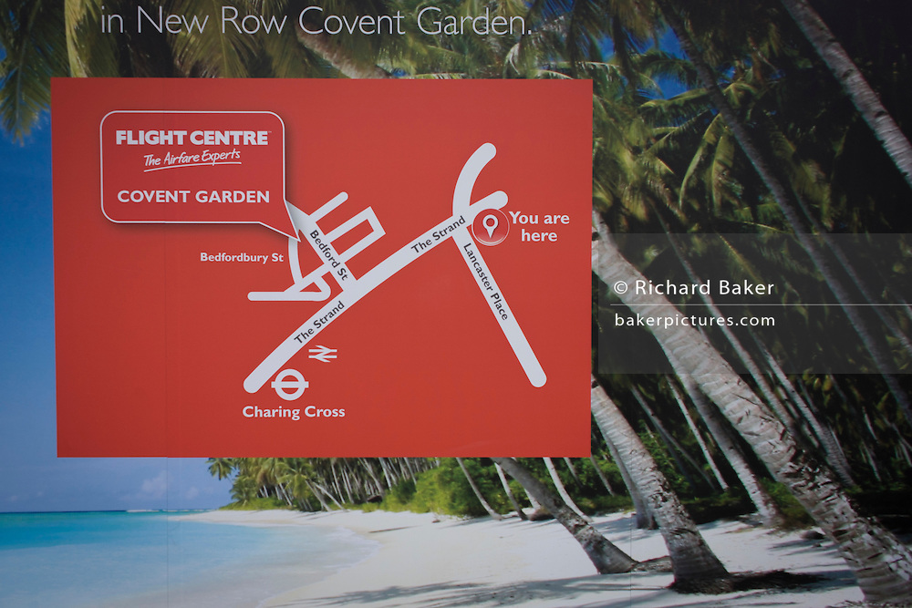 Travel agency Flight Centre's poster advising new premises with a You Are Here guide map.