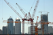 A large construction site in eastern Beijing where a new China Central Television (CCTV) tower is being built June 16 2006. The 230-metre building designed by Dutch architect Rem Koolhaas with a total construction area of 550 000 square metres will cost about 5 billion yuan (US$602.4 million) according to CCTV's official website.