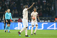 GOAL - Manchester United Forward Romelu Lukaku celebrates and punches the air during the Champions League Round of 16 2nd leg match between Paris Saint-Germain and Manchester United at Parc des Princes, Paris, France on 6 March 2019.