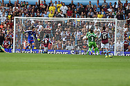 Scott Sinclair of Aston Villa (9) scores his teams 2nd  goal . Barclays Premier League match, Aston Villa v Sunderland at Villa Park in Birmingham, Midlands on Saturday 29th August  2015.<br /> pic by Andrew Orchard, Andrew Orchard sports photography.