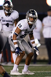 Nevada defensive back Bentlee Sanders (20) awaits the snap during the third quarter of an NCAA college football game against California, Saturday, Sept. 4, 2021, in Berkeley, Calif. (AP Photo/D. Ross Cameron)