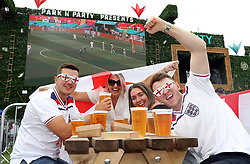 Fans at the fan zone in Trafford Park, Manchester as they watch the UEFA Euro 2020 Group D match between England and Croatia held at Wembley Stadium. Picture date: Sunday June 13, 2021.