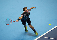 Stan Wawrinka (SUI) in action today during his victory over Tomas Berdych (CZE) in their Group A Singles match - Stan Wawrinka (SUI) def Tomas Berdych (CZE) 6-1 6-1<br /> <br /> Photographer Stephen White/CameraSport<br /> <br /> International Tennis - Barclays ATP World Tour Finals - O2 Arena - London - Day 2 - Monday 10th November 2014<br /> <br /> © CameraSport - 43 Linden Ave. Countesthorpe. Leicester. England. LE8 5PG - Tel: +44 (0) 116 277 4147 - admin@camerasport.com - www.camerasport.com