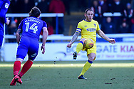 AFC Wimbledon defender Barry Fuller (2) controls under pressure from Peterborough United striker Jack Marriott (14) during the EFL Sky Bet League 1 match between Peterborough United and AFC Wimbledon at London Road, Peterborough, England on 24 February 2018. Picture by Dennis Goodwin.