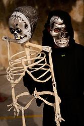 North America, Mexico, Oaxaca Province, Oaxaca, boy in costume for Day of the Dead (Dias de los Muertos) celebration