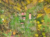 BLATUSA, CROATIA - 11 NOVEMBER 2017: Aerial view of Blatusa eco village, Eko selo, buildings and rooftops, Croatia.