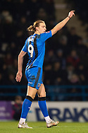 Gillingham FC forward Tom Eaves (9) gestures during the The FA Cup 3rd round match between Gillingham and Cardiff City at the MEMS Priestfield Stadium, Gillingham, England on 5 January 2019. Photo by Martin Cole.