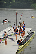 Chungju, South Korea. 2013 FISA World Rowing Championships, NED W8+, boating and General Views of signage round the Tangeum Lake International Regatta Course. 08:55:31  Saturday  24/08/2013 [Mandatory Credit. Peter Spurrier/Intersport Images]
