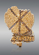 Fifth century Roman Christian funerary mosaic from Leptis Minus-Lemto in the Roman province of Africa Proconsularis , (Tunisian Sehel Region) dedicated to Cresconius, depicting the Christian Chi-Rho symbol used by the Roman emperor Constantine I as part of his military standard (vexillum). <br /> <br /> The Bardo National Museum, Tunis, Tunisia.   Against a grey background.