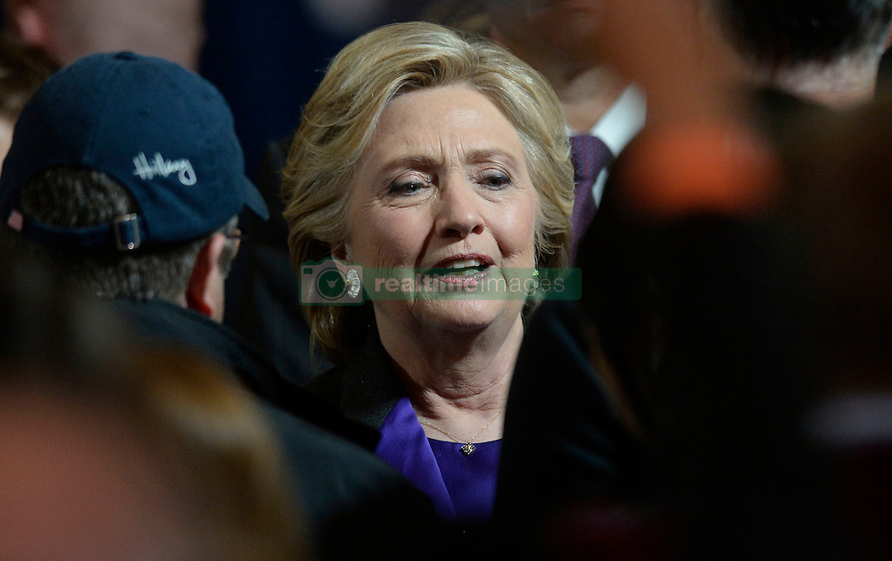 Presidential candidate Hillary Clinton greets campaign staff after delivering her concession speech Wednesday, from the New Yorker Hotel's Grand Ballroom in New York city , NY, on November 9, 2016. Photo by Olivier Douliery/Abaca