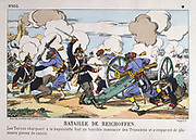 Franco-Prussian War 1870-1871: Battle of Reichshoffen also called Battle of Worth, 5 August 1870.  Turkish troops under French command overwhelming a Prussian battery.  Decisive Prussian victory.  Coloured woodcut.