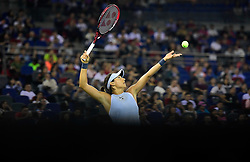 WUHAN, Sept. 30, 2017 Caroline Garcia of France serves during the singles final match against Ashleigh Barty of Australia at 2017 WTA Wuhan Open in Wuhan, capital of central China's Hubei Province, on Sept. 30, 2017. Caroline Garcia won 2-1. wdz) (Credit Image: © Cheng Min/Xinhua via ZUMA Wire)